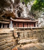 Ancient Buddhist Pagoda Cave Complex Bich Dong. Ninh Binh, Vietnam Travel Destination