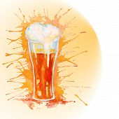 Watercolor glass of beer - vector illustration