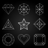 picture of octagon shape  - General gem shape icons on dark background stock vector - JPG