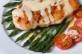 picture of white asparagus  - Grilled chicken breast with green asparagus and Hollandaise sauce on a white plate macro - JPG
