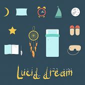 Set Of Icons On A Theme Of Lucid Dream