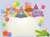 image of safari hat  - Banner Illustration Featuring Safari Animals Wearing Party Hats - JPG