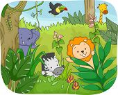Illustration Featuring Safari Animals Playing in the Jungle