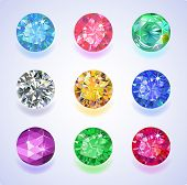 image of refraction  - Set of nine colored gems isolated on light background. EPS 10 vector illustration.