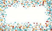 Party frame colorful confetti isolated white