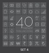 40 Trendy Thin Line Icons For Web And Mobile. Set 4