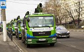 Moscow, Russia - March 22 2014: Evacuation Vehicles Staying Ready For Work On Azovskaya Street.