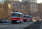 Moscow, Russia - March 27 2014: Red City Trams Stay In A Traffic Jam Near Shukinskaya Metro Station