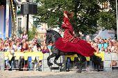 Riga, Latvia - August 21: Camilla Naprous From The Devils Horsemen Stunt Team Riding Beautiful Black