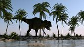 Yangchuanosaurus on shore