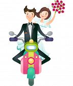 The view of couple is riding a scooter