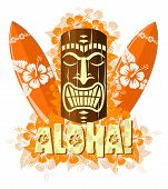 foto of tiki  - Vector illustration of orange tiki mask with surf boards - JPG