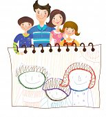 The view of family with sketchbook