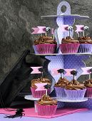 Graduation Day Pink And Purple Party Chocolate Cupcakes On Stand - Vertical.