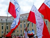 Rome, Vatican - April 28, 2014: The Joy Of Polish Pilgrims To St. Peter's Square At The Vatican Afte