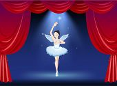 Illustration of a ballet dancer in the middle of the stage