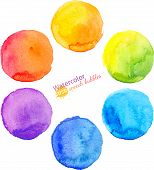 picture of circle shaped  - Colorful vector isolated watercolor paint circles set - JPG