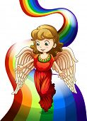 Illustration of an angel above the rainbow on a white background