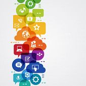Vector background. Social media concept. Ã??Ã???ommunication in the global computer networks. Set of flat design concept icons for web and mobile services. File is saved in AI10 EPS version.