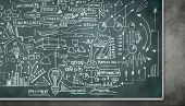 Background image of blackboard with science drawings