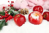 Red apples with fir branches and knitted scarf in snow close up