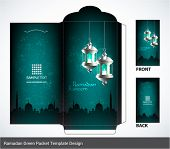 Vector 3D Muslim Pelita Oil Lamp Ramadan Money Green Packet Design. Translation: Ramadan Kareem - Ma