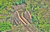 Old steel railroad bridge in Kutna Hora