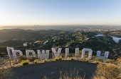HOLLYWOOD, CALIFORNIA - October, 31:  Sunrise city view from hilltop behind the famous Hollywood sig
