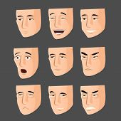Collection of cartoon emotion faces