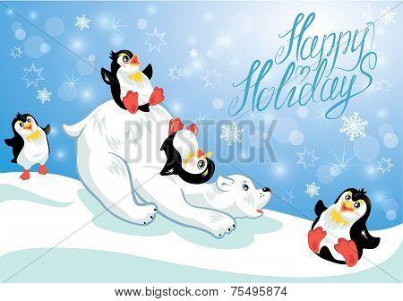Постер, плакат: Card With Funny Penguins And Polar Bear On Blue Snow Background Cartoons For Winter Christmas Or N, холст на подрамнике