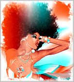 Modern digital art image of fabulous retro Afro hairstyle