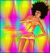 Disco Dancing Woman with Afro.