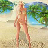 Summer Blond on Sandy Beach,Tropics
