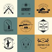 stock photo of gun shop  - Hunting club label collecton made in vector - JPG