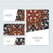 image of indian  - Set of business card and invitation card templates with lace ornament - JPG