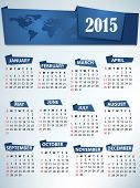 2015 Calendar with World map header