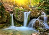Nice small waterfall in forest