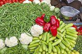 Various Vegetables In Asia Street Market Bazaar, India