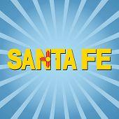 Santa Fe flag text with sunburst  illustration