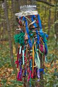 stock photo of pagan  - Offerings to the pagan gods in the forest temple.