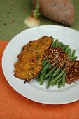 Green beans with sweet potato fritters