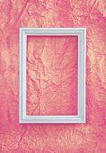 Frame On Pink Wrinkled Paper