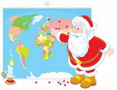 Santa Claus with a world map
