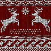 Christmas Background - Norwegian Knitting Patterns Vector