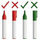 Marker Red / Green With Cross + Check