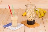 Banana smoothie and blender.