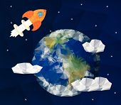 Start up concept for new business, ideas, innovation and development. Rocket near the Earth.