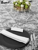Elegant Table Set With Floral Decoration