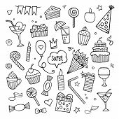 Vector set of different hand drawn holiday elements