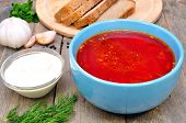 Traditional Russian borscht soup